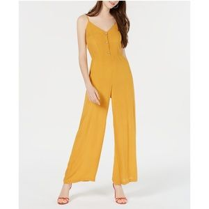 Planet Gold Wide Leg Button Jumpsuit Yellow Sz M